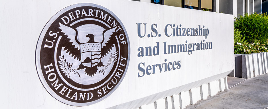 U.S. Citizen and Immigration Services building sign