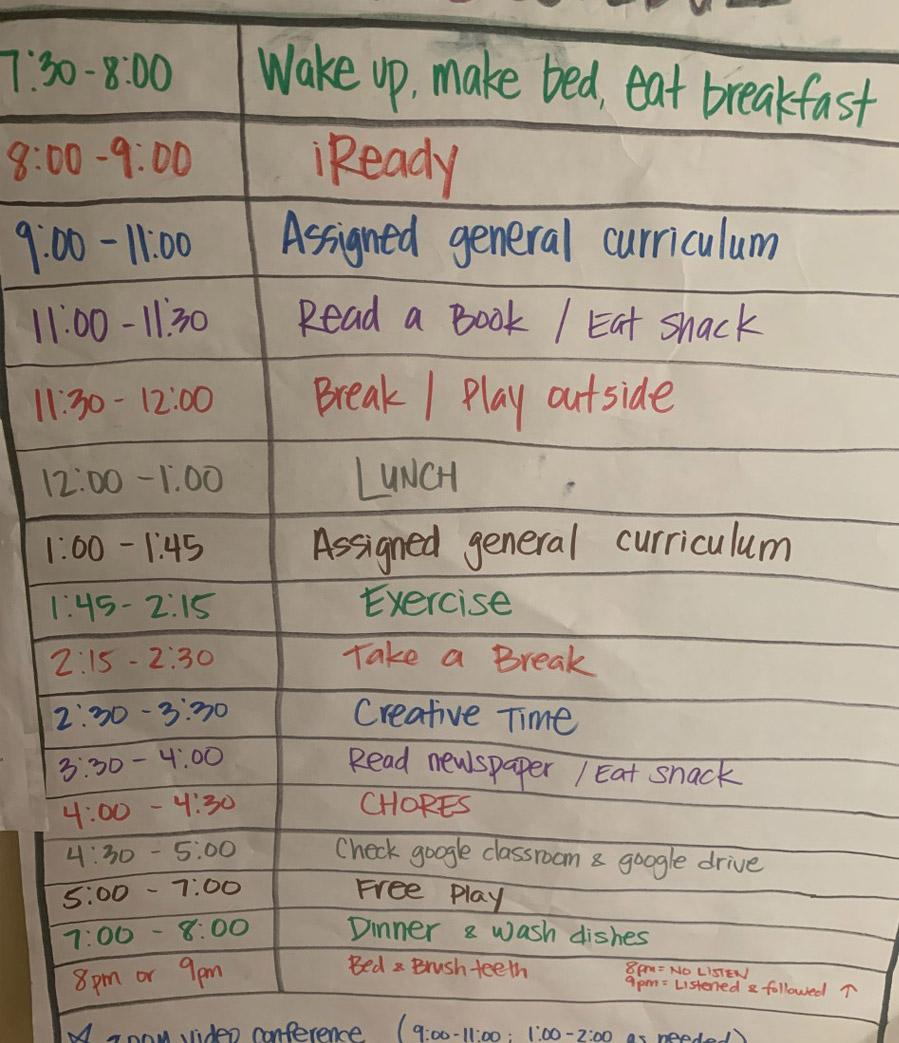 home school kid schedule so mom can work