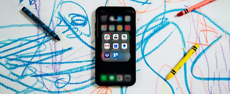 crayon scrawl and an iPhone