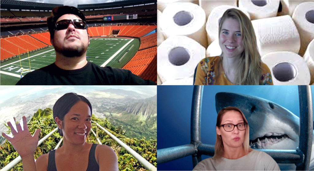 Zoom video chat with four people with virtual Hawaii backgrounds