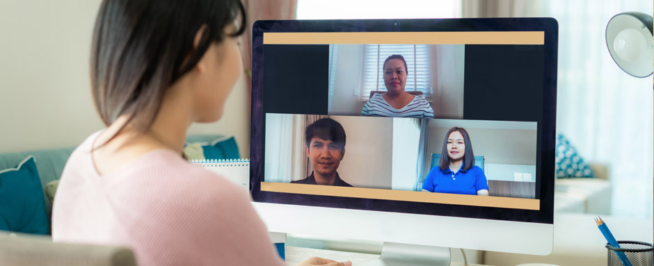 virtual team video meeting while working from home
